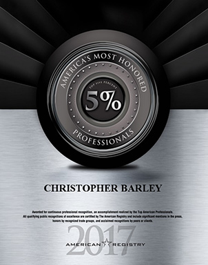 Dr. Christopher Barley Named A Most Honored Professional For 2017!